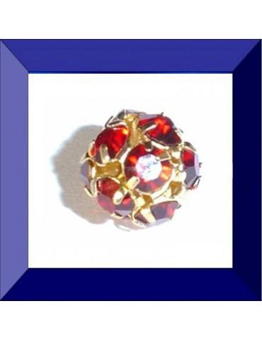 Boule strass 10 mm dorée/Siam