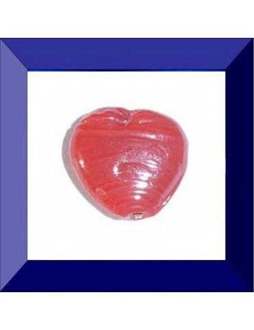 """Perle en verre """"cœur rouge"""""""